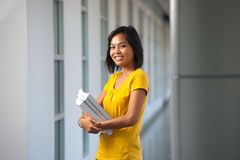 Pretty College Student Portrait Repetition Hallway Royalty Free Stock Images