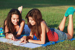 Pretty College Teenagers Studying Stock Images
