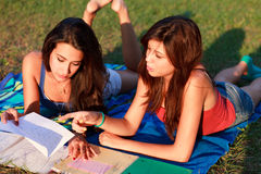 Pretty College Teenagers Studying Royalty Free Stock Photos