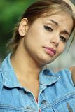 Serious Beautiful Female. A pretty Colombian adult female Royalty Free Stock Photos