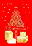 Pretty colorful Christmas greeting card written in several languages SPANISH1 A Stock Illustration