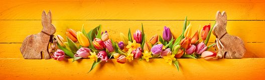 Pretty colorful Easter panorama banner royalty free stock photography