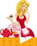 Pretty confectioner. Girl showing her delicious cakes and invites you to drink tea Stock Photo
