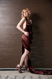 Pretty confident blonde girl in evening dress. Pretty confident blonde girl in evening dress, posing against a brown wall stock photography