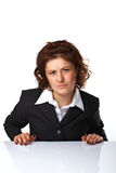 Pretty confident business woman. Against white background Stock Photo