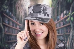 Pretty confident proud girl in military uniform Royalty Free Stock Image