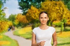 Pretty confident woman jogging Royalty Free Stock Images