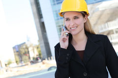 Pretty Construction Woman Stock Photo