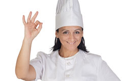 Pretty cook girl accepting Stock Image