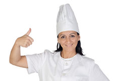 Pretty cook girl accepting Royalty Free Stock Image