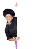 Pretty cook girl with a blank poster Stock Photography