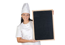 Pretty cook girl with blank slate Royalty Free Stock Photo