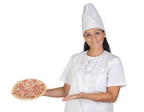 Pretty cook girl with a delicious pizza Royalty Free Stock Images