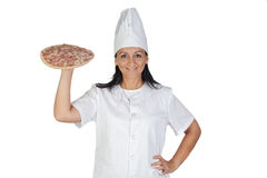 Pretty cook girl with a delicious pizza Stock Photography