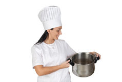 Pretty cook girl with a pot Royalty Free Stock Photo