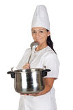 Pretty cook girl thinking with a pot and ladle Stock Photos