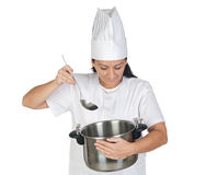Pretty cook girl thinking with a pot and ladle Royalty Free Stock Images