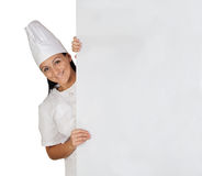Pretty cook girl with uniform Stock Photos