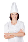 Pretty cook woman. Isolated on white background Royalty Free Stock Photography
