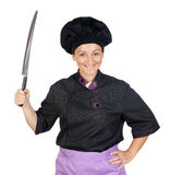 Pretty cook woman with big knife Royalty Free Stock Photo