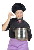 Pretty cook woman with big pot Stock Images