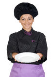 Pretty cook woman with black uniform Stock Photography