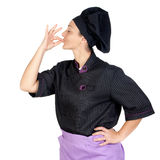 Pretty cook woman with black uniform Stock Image