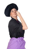 Pretty cook woman with black uniform Stock Photo