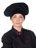 Pretty cook woman with black uniform Royalty Free Stock Images
