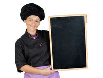 Pretty cook woman with blackboard Stock Photo