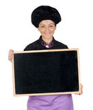 Pretty cook woman with blackboard Royalty Free Stock Images