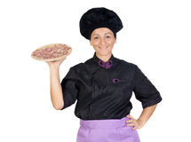 Pretty cook woman with ham pizza Royalty Free Stock Image