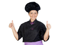 Pretty cook woman saying OK Royalty Free Stock Photos