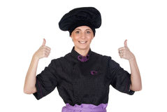Pretty cook woman saying OK Stock Image