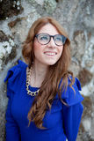 Pretty cool woman with big glasses Royalty Free Stock Photo