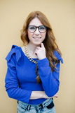 Pretty cool woman with big glasses Royalty Free Stock Photography
