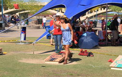 USA/Tempe: Lawn Game Cornhole - Throwing the bag Stock Images