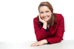 Pretty corporate lady with cheeky expression Royalty Free Stock Image