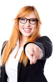 Pretty corporate lady pointing at you Royalty Free Stock Photo