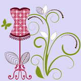 Pretty Corset. With fleur de lis for bottom fringe flourish behind vector illustration