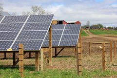 Pretty countryside with solar panels stock photo