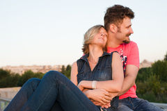 Pretty couple embrace outdoor. Stock Photo