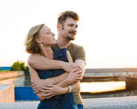 Pretty couple embrace outdoor. Royalty Free Stock Photos