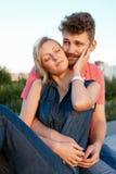 Pretty couple embrace outdoor. Stock Photos