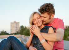 Pretty couple embrace outdoor. Stock Image