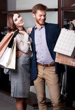 Couple is glad to go shopping Royalty Free Stock Photography