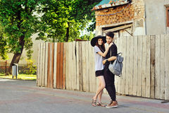 Pretty couple hugging and flirting outdoor Stock Images