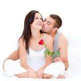 Pretty couple kissing each other Royalty Free Stock Images