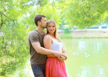 Pretty couple in love outdoors in summer day Royalty Free Stock Images