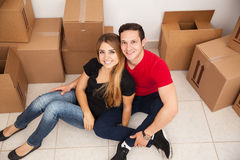 Pretty couple moving together Stock Images